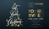 Christmas party invitation poster template of golden Christmas tree star and snowflake decoration on premium black background. Vector gold glitter design template for New Year winter holiday party
