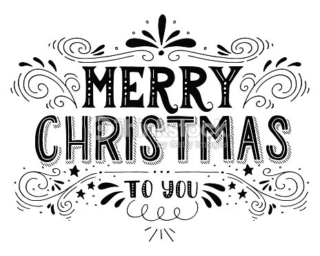 Vintage Merry Christmas Clip Art Black And White