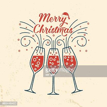 シャンパン グラスを持つメリー クリスマス レトロなテンプレート : ベクトルアート