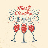 Merry Christmas retro template with Champagne glasses. Vector illustration. Xmas design for congratulation cards, invitations, banners and flyers.