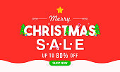 Merry Christmas Sale Vector illustration, Typography on red background, Flat design