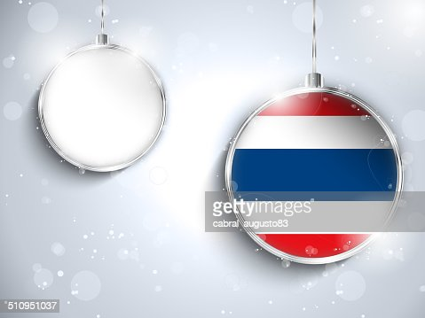 frohe weihnachtensilberball mit flagge thailand. Black Bedroom Furniture Sets. Home Design Ideas