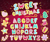 Vector holiday illustration set cookie letters and figured gingerbread cookies. Heart, snowflake, fir-tree, sock, star, gift, lollipop, gingerbread man. Cartoon alphabet