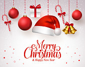 Merry christmas title in red with hanging christmas ornaments like santa hat, balls, gifts, bells and candies in a white snow background. Vector illustration