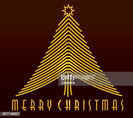 Merry Christmas Tree Art Deco Greeting Design Template ...