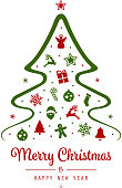 merry christmas tree greeting elements isolated background