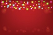 Merry Christmas and Happy New Year vector illustration with copy space.Abstract background with glowing lights