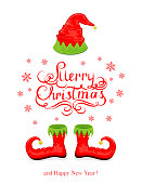 Red hat and shoes elf isolated on white background, lettering Merry Christmas and Happy New Year with snowflakes and holiday costume, illustration.