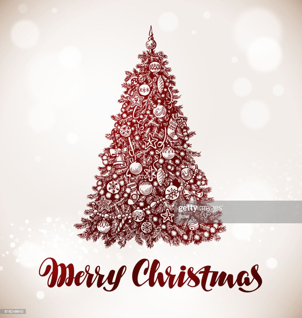 Merry Christmas. Xmas tree with decorations. Vector illustration : Vector Art