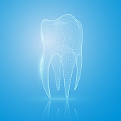 3D mesh tooth on a blue background. Tooth reconstruction concept.