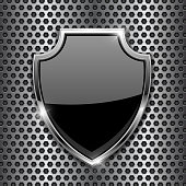 Metal 3d black shield on metal perforated background. Vector illustration