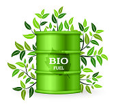 Metal barrel with bio fuel and green tree. Vector illustration