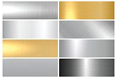 Metal textures. Vector collection of metallic textures, panels and banners for your design and ideas.