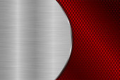 Metal brushed background with red perforation. Vector 3d illustration