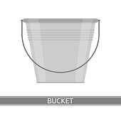 Vector illustration of steel bucket isolated on white background. Housekeeping equipment in flat style.