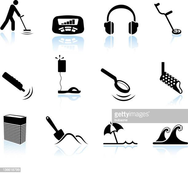 metal detection on beach black and white vector icon set