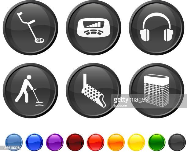 metal detection tools royalty free vector icon set