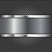 Metal perforated background with brushed steel plate. Diamond shape holes. Vector 3d illustration
