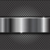 Metal perforated background with shiny stainless steel plate. Diamond shape holes. Vector 3d illustration