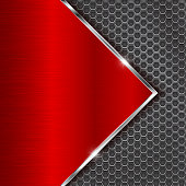 Metal red background with perforation. Vector 3d illustration