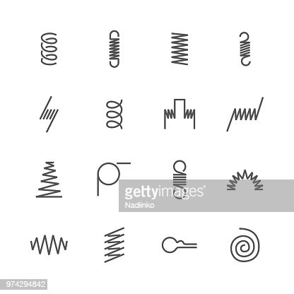 Metal spring flat line icons. Variety of flexible coil, elastic steel wire types. Thin signs flexibility property. Pixel perfect 48x48, Editable Strokes : stock vector