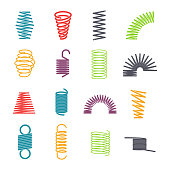 Metal spring set. Colorful round metal wire, elasticity and mechanical energy. Vector flat style cartoon illustration isolated on white background