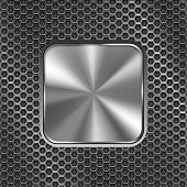 Metal square button on perforated background. Vector 3d illustration