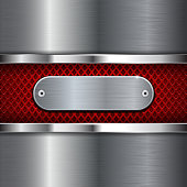 Metal stainless steel background with red perforation. Diamond shape holes. Vector 3d illustration