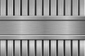 Metal striped background. Vector 3d illustration
