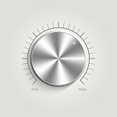 Metal vector volume music control with a scale from low to high, volume knob, for websites