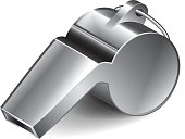 Metal whistle isolated on white photo-realistic vector illustration