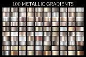 Metallic, bronze, silver, gold, chrome metal foil texture gradient template Vector swatch set. Metallic gradient illustration gradation for backgrounds, banner, user interface Vector template design