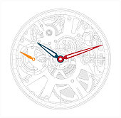 Vector illustration of a metallic mechanical watch and clock component.