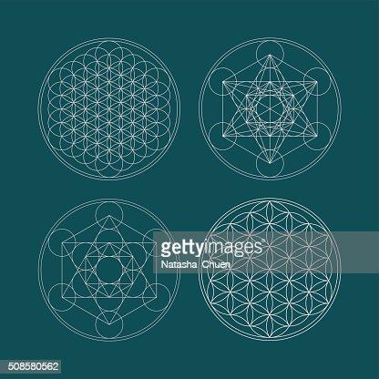 Metatrons Cube und Blume des Lebens. : Vektorgrafik