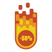 Icon of an orange meteorite with a discount in the fire on a white background