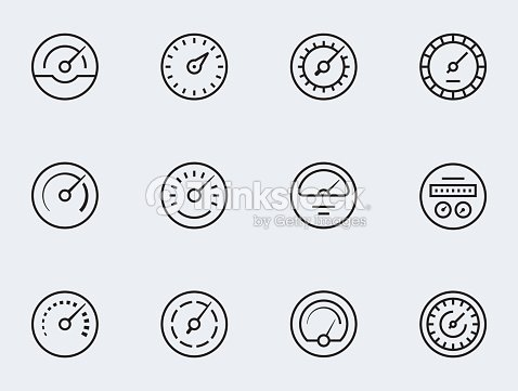 Meter Icon Set In Thin Line Style Symbols Of Speedometers Manometers ...