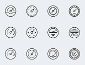 Meter icon set in thin line style. Symbols of speedometers, manometers, tachometers etc.