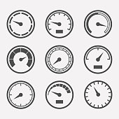 Circular meter vector set. Collection of round gauges. Simple icons meters isolated from the background. Black symbols speedometer, tachometer and manometer. Rating meter illustration.