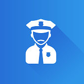 Police avatar icon in Metro user interface color style. People service security