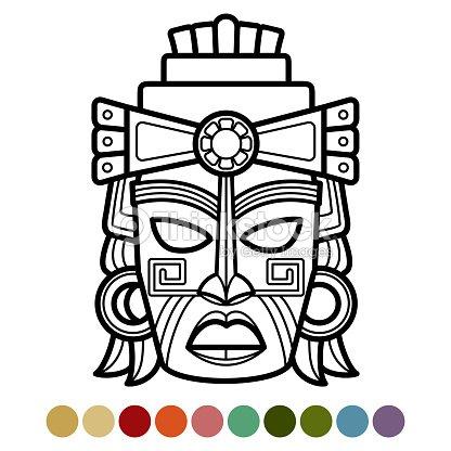 Máscara Mexicana Africana Azteca Página Para Colorear Arte vectorial ...