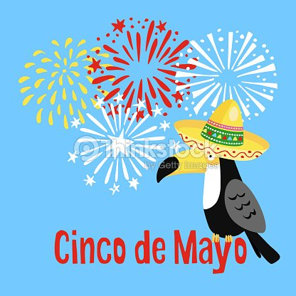 Mexican cinco de mayo greeting card party invitation toucan bird mexican cinco de mayo greeting card party invitation toucan bird with sombrero hat and hand drawn fireworks vector illustration stopboris Image collections
