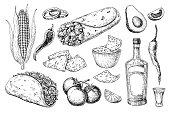 Mexican cuisines drawing. Traditional food and drink vector illustration. Engraved taco, burrito, nachos and tequila bottle, shot. Hand drawn set. Sketch for restaurant menu, label, banner