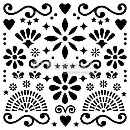 Mexican Folk Art Vector Pattern Black And White Design With Flowers Greeting Card Inspired By Traditional Designs From Mexico