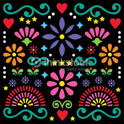 Mexican folk art vector pattern colorful design with flowers mexican folk art vector pattern colorful design with flowers greeting card inspired by traditional designs m4hsunfo