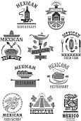 Mexican cuisine restaurant icons set. Vector isolated Mexico sombrero hat, spicy chili jalapeno pepper, Mexico tequila cactus drink and tobacco cigar, burrito or tacos snack food for cafe menu