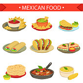 Mexican Food Signature Dishes Illustration Set. Traditional Cuisine Restaurant Menu Plates In Simplified Vector Drawings,