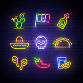 Mexican icons. Icon from Cinco De Mayo. Mexico neon sign. Cactus, Flag Mexico, Tequila, Mexican hat, Skull, Taco, Maracas, Chilli, Shot icon. Vector Illustration.