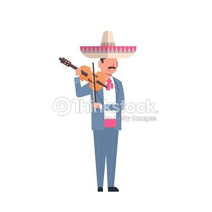 0e996da128b5e Mexikanische Mann Musiker In Tracht Und Sombrero Mit Violine ...