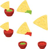 A vector illustration of Mexican Cuisine - Nachos with dipping bowls of Salsa and Guacamole sauce.