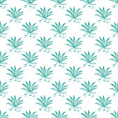 Mexican nature vector background. Agave cactuses Seamless pattern
